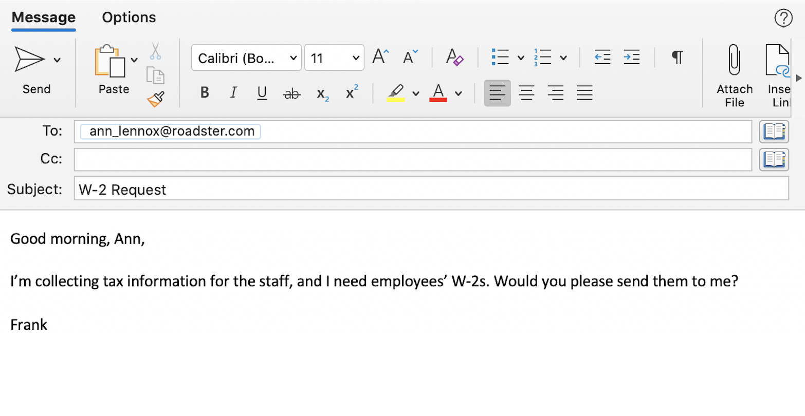 An example of imposter attempting to get PII using business email compromise (BEC) tactics.