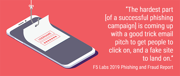 """The hardest part [of a successful phishing campaign] is coming up with a good trick email pitch to get people to click on, and a fake site to land on."" - F5 Labs 2019 Phishing and Fraud Report with contributions from CI Security"